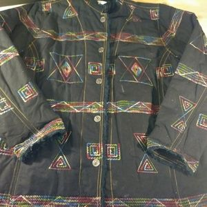 Embroderd multicolor quilted jacket